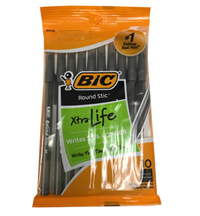 10 Pack Round Stick Bic Black