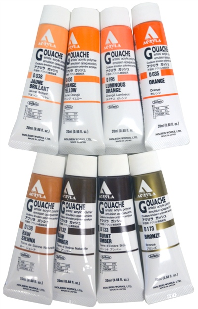 HOLBEIN GOUACHE ORANGES AND BROWNS (SKU 1047516429)